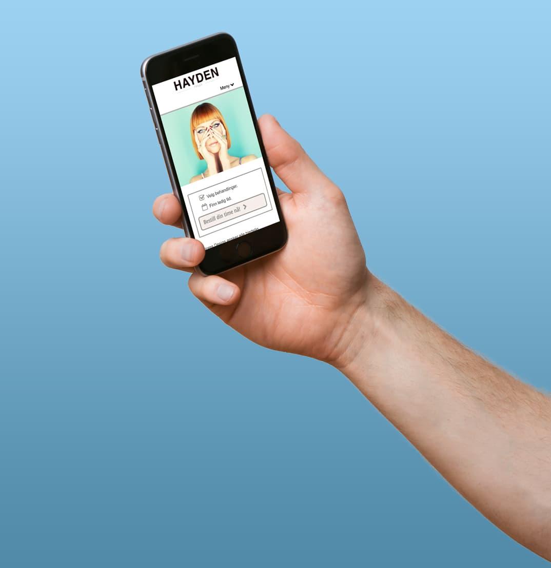 Timebestilling nettside på mobil